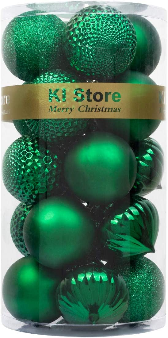 "KI Store 20ct Christmas Ball Ornaments Shatterproof Christmas Decorations Large Tree Balls for Holiday Wedding Party Decoration, Tree Ornaments Hooks Included 3.15"" (80mm Green)"