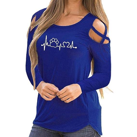 Bestow Camiseta Estampada de Manga Larga con Hombros Descubiertos para Mujer Camiseta con Hombros Descubiertos Blusas