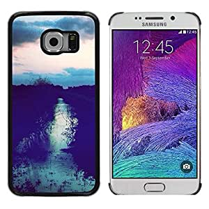 LECELL--Funda protectora / Cubierta / Piel For Samsung Galaxy S6 EDGE SM-G925 -- Field Sunset After Sky Night View --