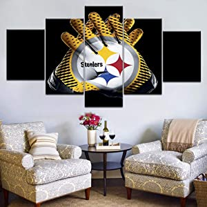 BVC 5 Pieces Home Decor Canvas Print Wall Art Pittsburgh Steelers Gloves Sport Poster Painting