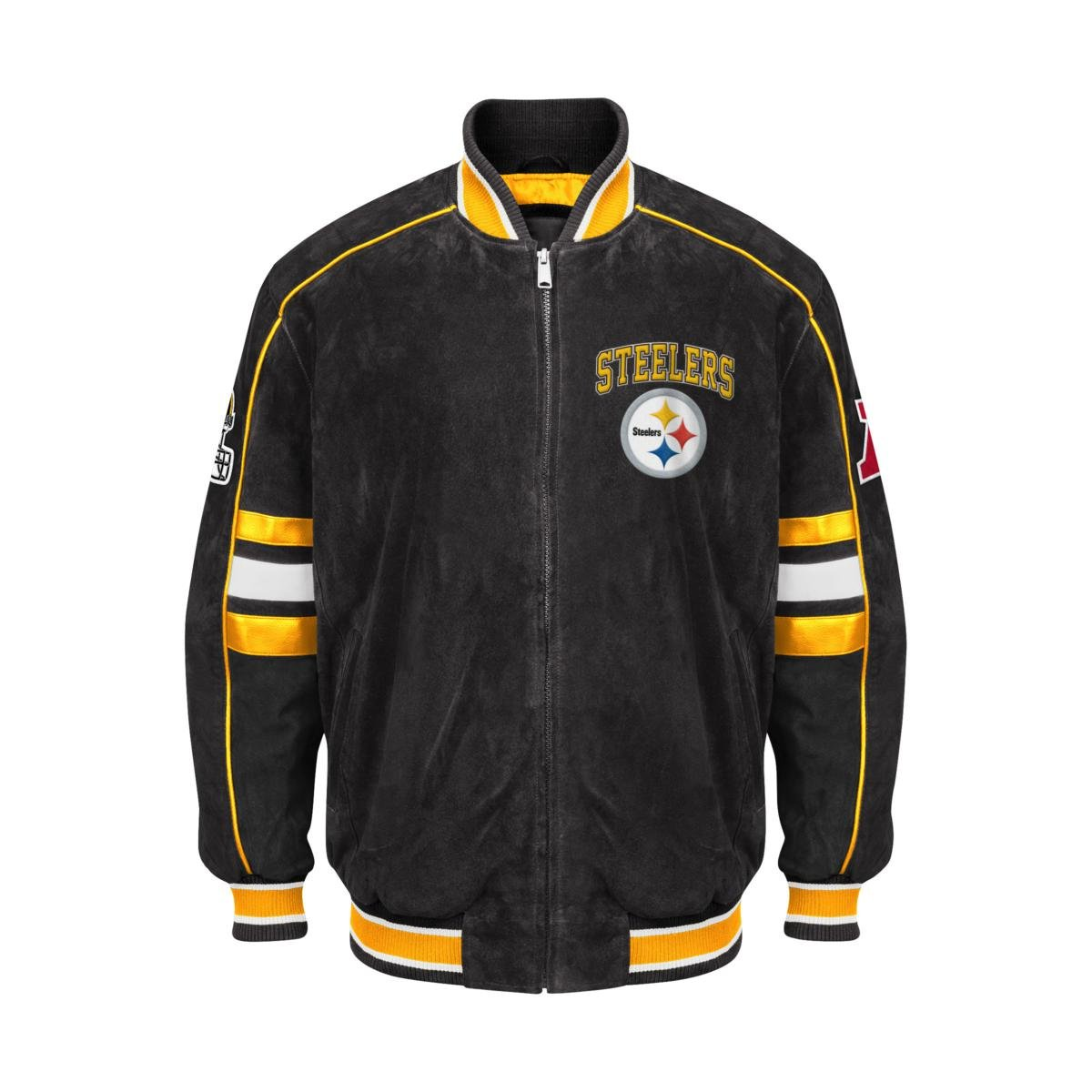 san francisco 51b7f 90141 Pittsburgh Steelers Suede Jacket Leather NFL Steelers Coat Apparel asst  Sizes