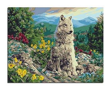 Csyhl Familia De Lobos Para Colorear Animales Con Números Sobre