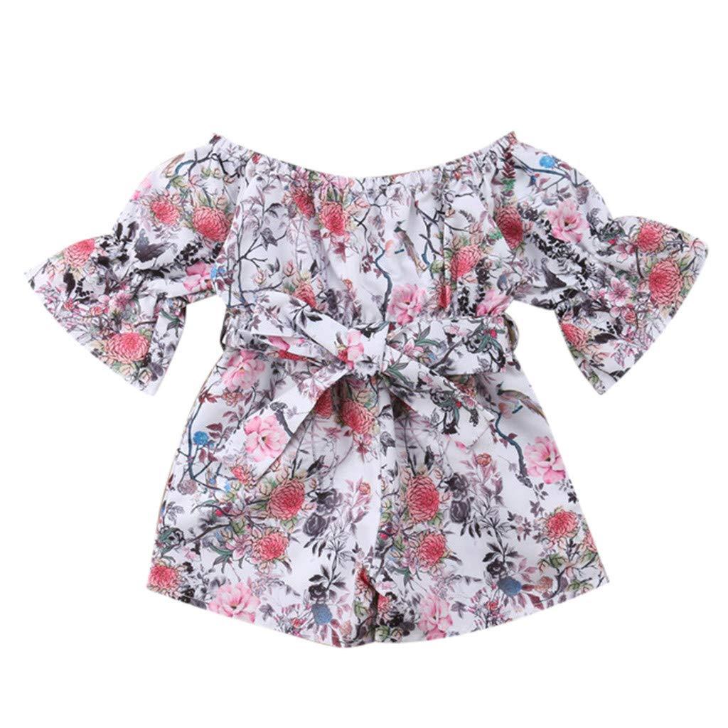 NUWFOR Infant Toddler Baby Girls Off Shoulder Floral Print Bow Romper Jumpsuit Outfits(Multicolor,12-18 Months)
