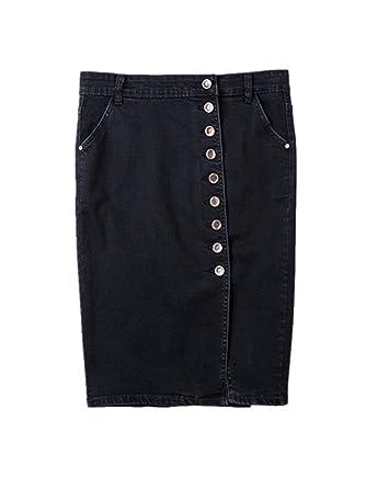 8be752a1d S - 6XL Floral Embroidered Denim Skirt Women Jeans Pencil Skirt High Waist  Split Knee Length