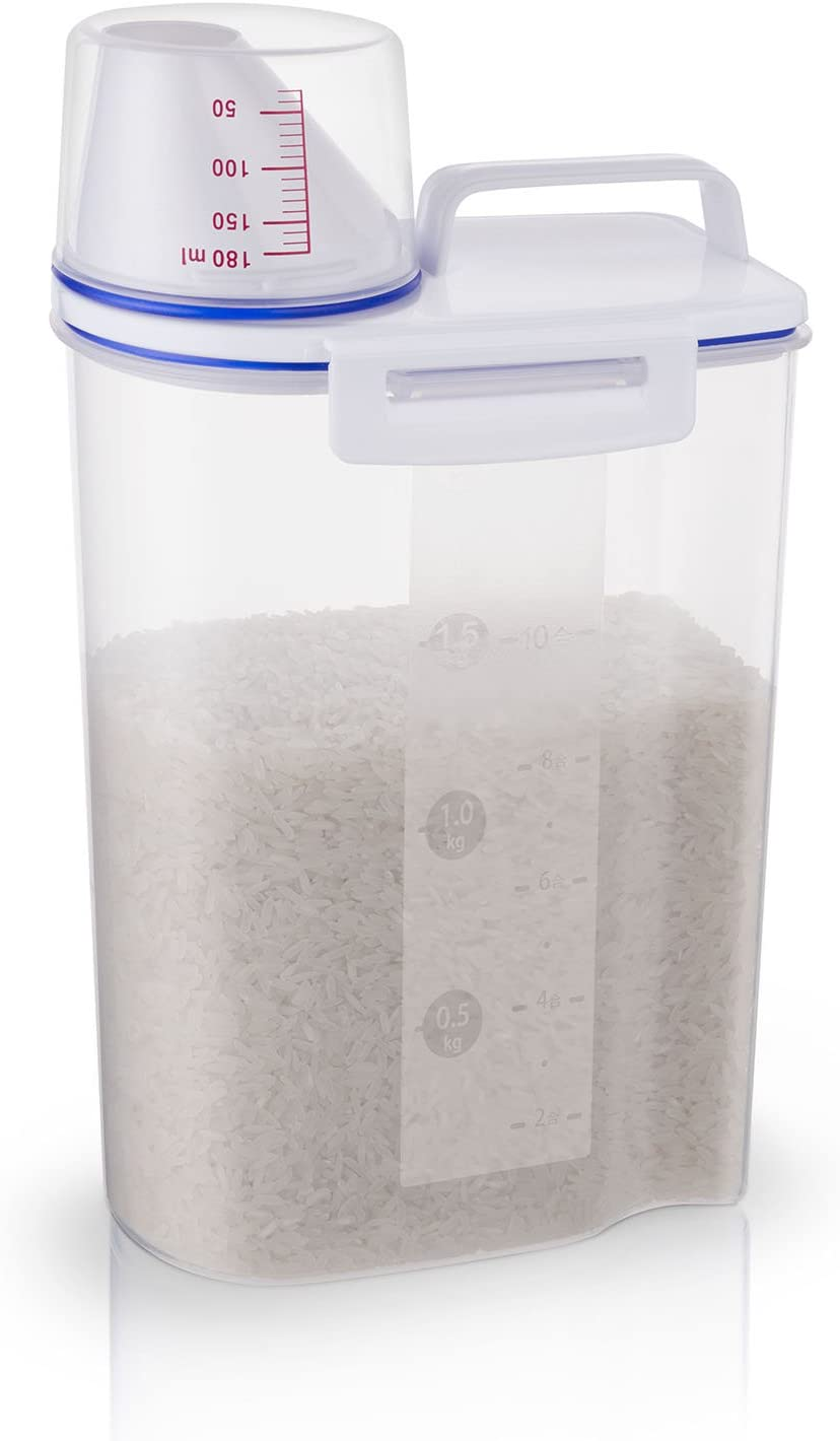 Rice Storage Bin Cereal Containers Dispenser with BPA Free Plastic + Airtight Design + Measuring Cup + Pour Spout - 2KG Capacities of Rice Perfect for Rice Cooker
