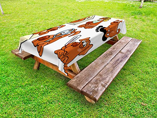 Lunarable Dog Lover Outdoor Tablecloth, Dog Beauty Spa Toothy Smiling Sick Cheerful Looking Magnifying Action, Decorative Washable Picnic Table Cloth, 58 X 120 inches, Cinnamon Coconut White by Lunarable