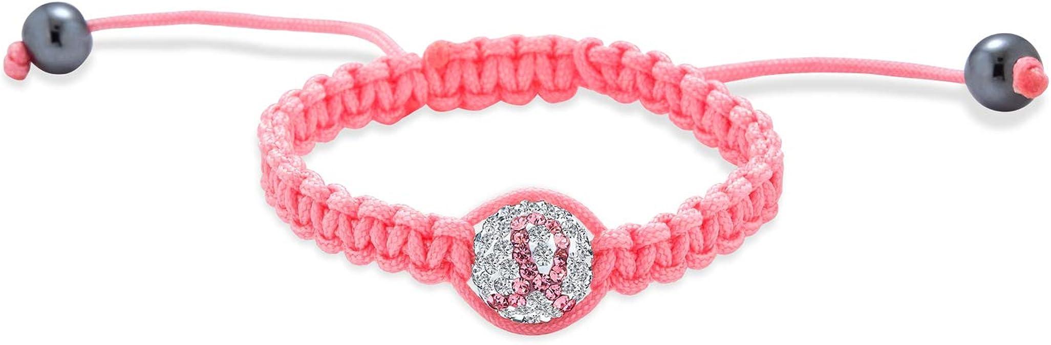 Sparkling Pink Ribbon Breast Cancer Awareness Memory Wire Beaded BraceletWrap bracelethopesupportpink ribbonOctobergift
