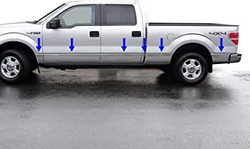 PREMIUM Rocker Panel Trim 2009-2014 Ford F-150 Crew Cab 5.5/' Short Bed w//Flare