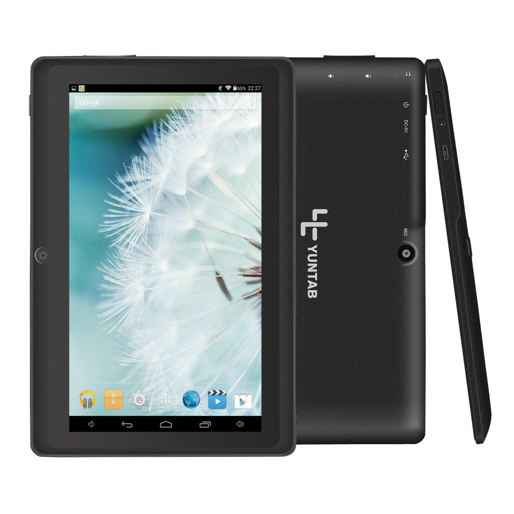 Yuntab 8GB A88 Tablet 7 pulgadas WiFi Allwinner A33 Quad-Core HD 1024x600 Doble cámara Multi-touch Bluetooth Android 4.4 Google Play (Negro): Amazon.es: ...