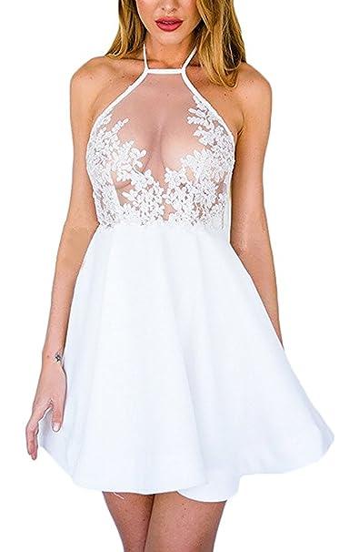 Para Mujer Falda de Cuello Halter Transparentes Mini Vestidos Casuales Cortos Vestido de Encaje Partido Bodycon