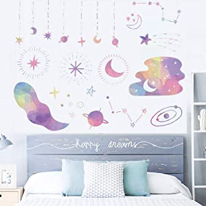 Watercolour Moon Stars Planets Wall Decals Colorful Starry Galaxy Stickers Peel and Stick Art Mural Decor for Home Dorm Office Party Nursery