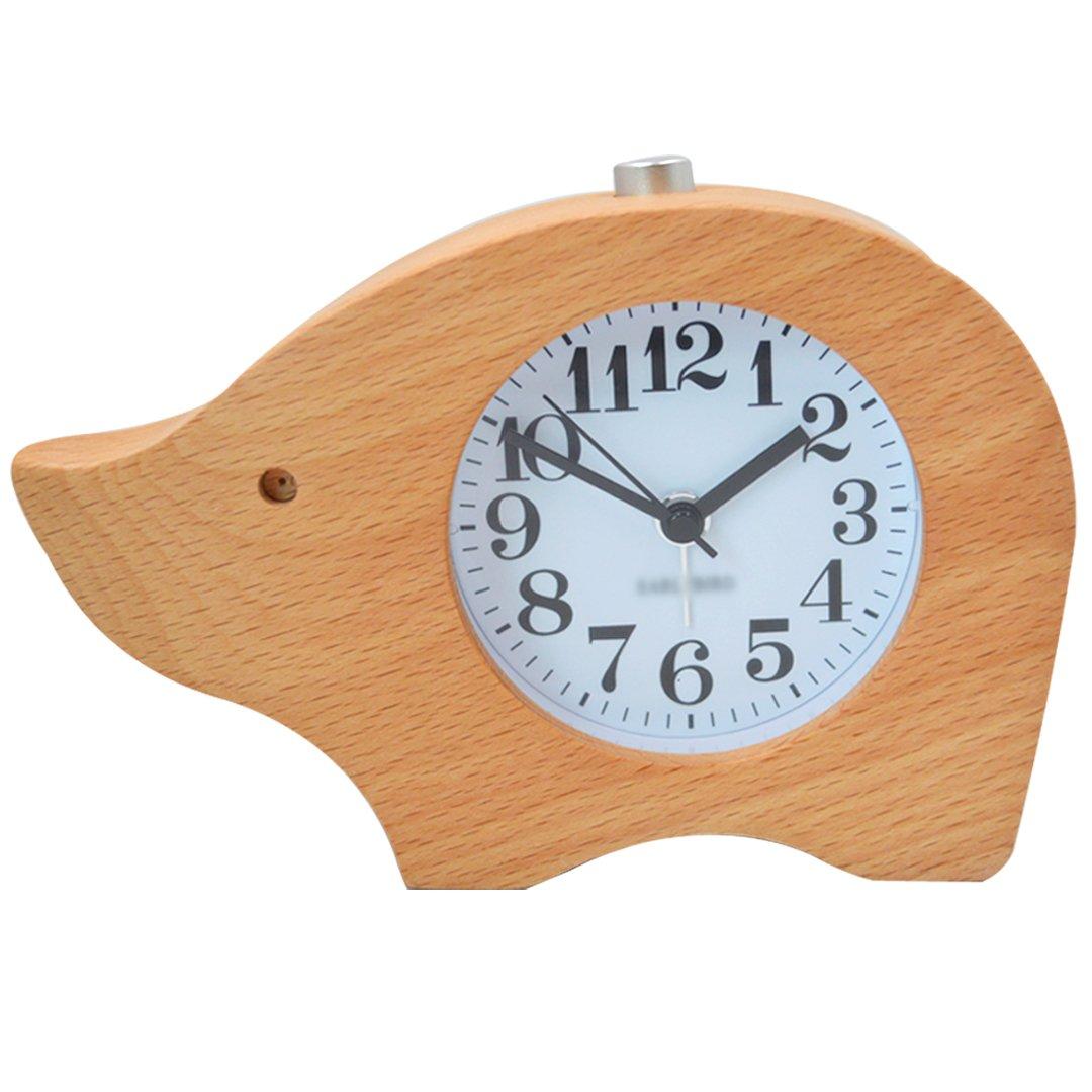 Aisa Beech Wood Bedside Alarm Clock Student Animal Shape Mute Desk Clock with Night Light