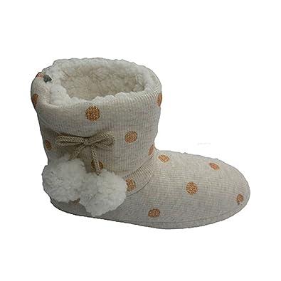 Gioseppo Cloth Bottes lunaires Être à la Maison avec Deux Pompons Sur les  Côtés en Beig