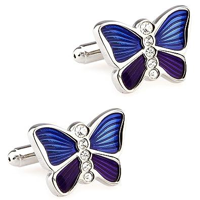 CIFIDET Gemelos Mancuernas animales azules de la mariposa de la camisa de los hombres de la moda con la caja de regalo: Amazon.es: Joyería