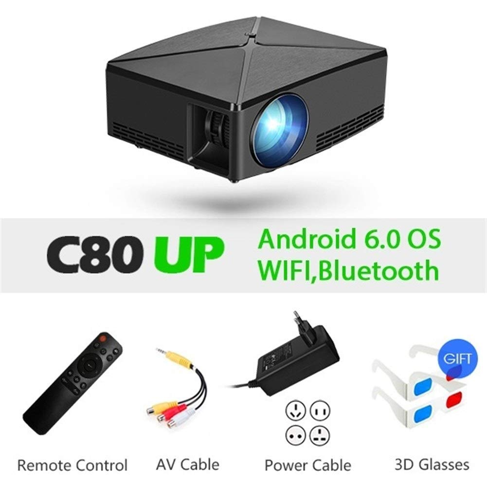 HD Mini Projector C80UP, resolución 1280x720P, Android WiFi ...