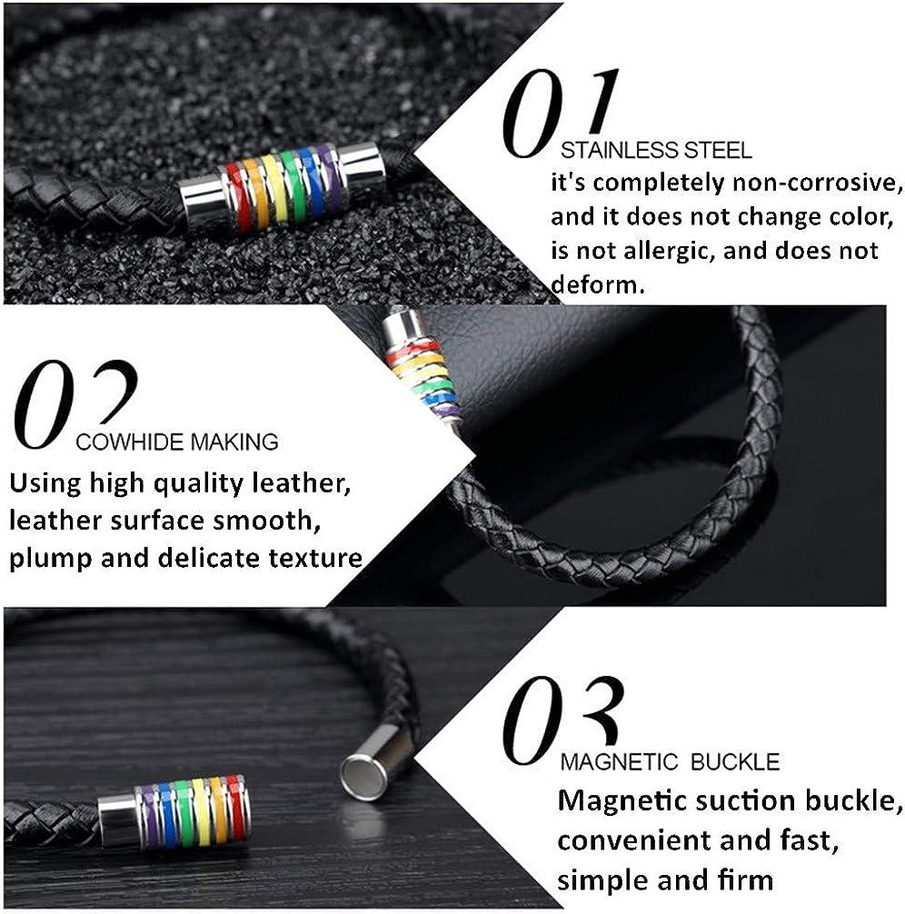 Jakob Miller Rainbow Striped Necklace and Bracelet Set Stainless Steel Dog Tag Pendant Necklace and Handmade Magnet LGBT Pride Leather Bracelet for Unisex