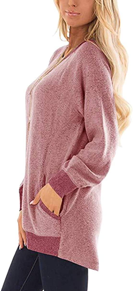 TYQQU Women/'s Round Neck Long Sleeve Loose Fit Sweatshirt with Pockets Color Block Blouse Tops
