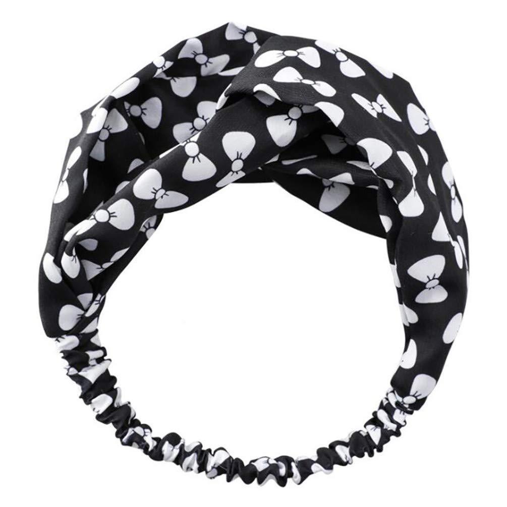 LANWF Printed Bow Headbands Vintage Hairband Elastic Head Wrap Turban Knotted Cute Hair Accessories,Black