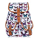 Vbiger Canvas Backpack for Women & Girls Boys Casual Book Bag Sports Daypack (Butterfly White)