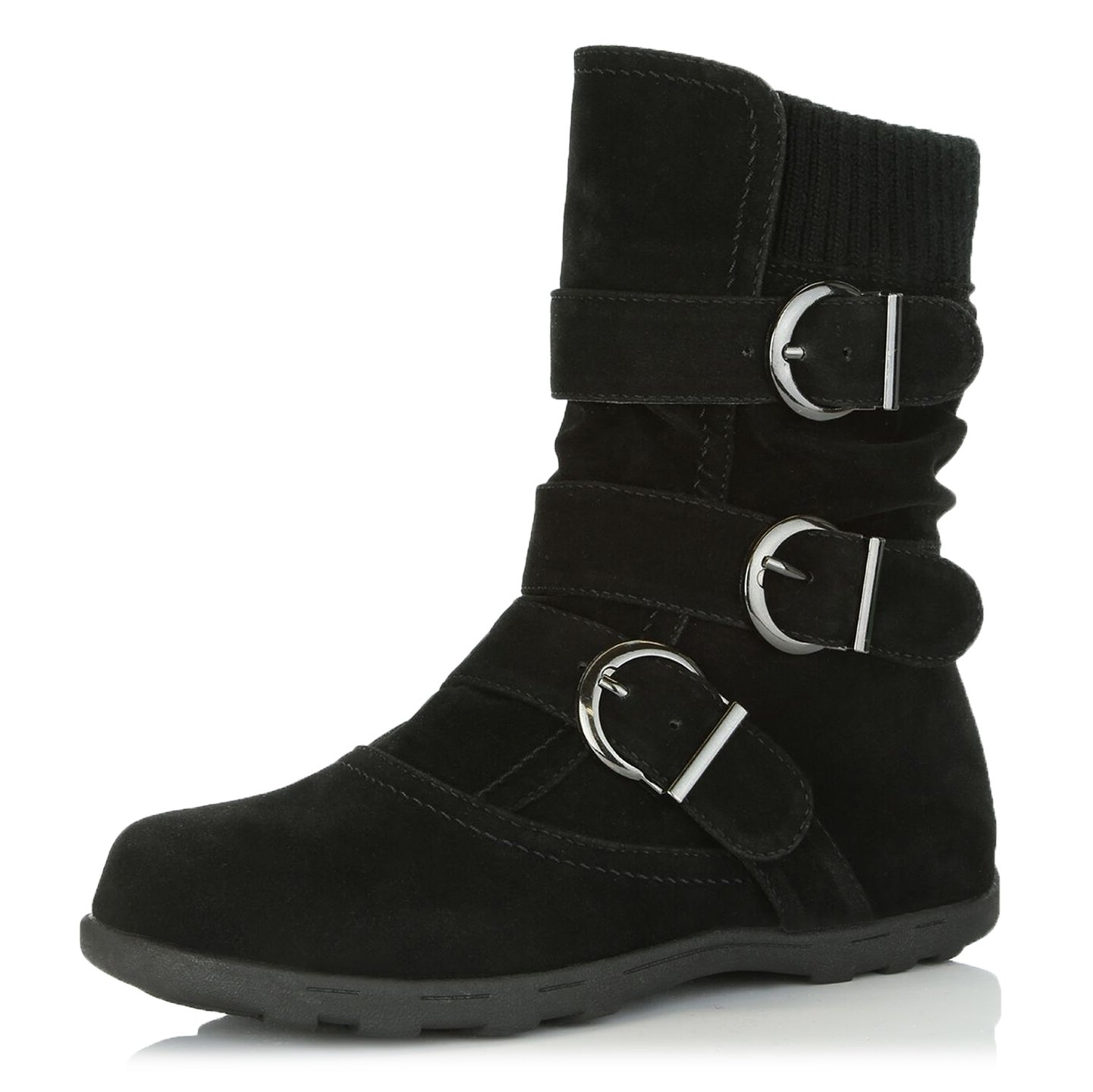 DailyShoes Women's Winter Snow Boots with Buckles Durable Traction Warm Cozy Ankle Mid Calf Slouch Perfect for Fall and Snow Seasons, Black SV, 8 B(M) US