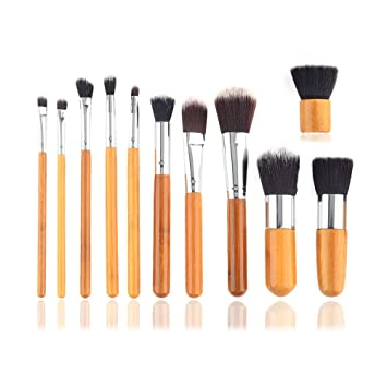 Resultado de imagen para set de 11 brochas con mango de madera para maquillaje
