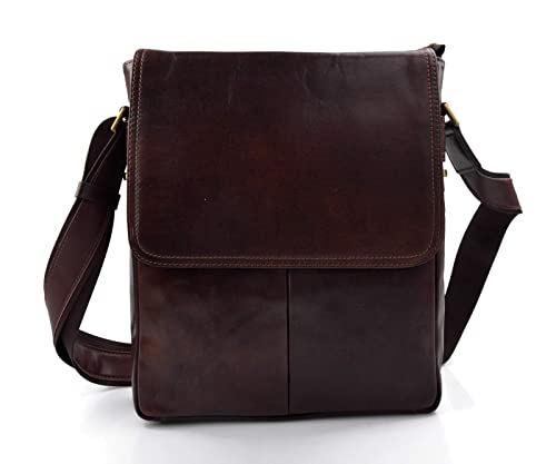 Bolso de cuero genuino cartero hobo bag bolso piel hombre bolso piel mujer bandolera marron