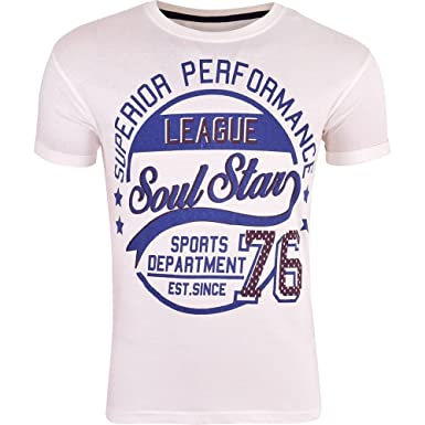 b83680bde79 SoulStar Men s Printed Graphic Short Sleeved Crew Neck Soft Cotton T Shirts  Small White  Amazon.co.uk  Clothing