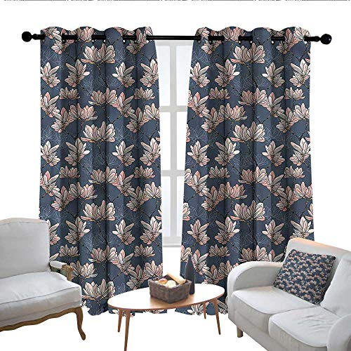 Magnolia Draperies - Lewis Coleridge Thermal Insulated Blackout Curtain Flowers,Magnolia Flowers Japan,Blackout Draperies for Bedroom Living Room 84