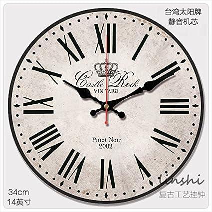 amazon com y hui silent mute 14 inch antique clock face clock home