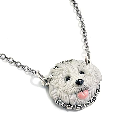 Sweet Romance White Terrier Dog Shaggy Puppy Pendant Necklace, Dog Lover  Gift - Bichon Frise, Maltese, Lhasa Apso