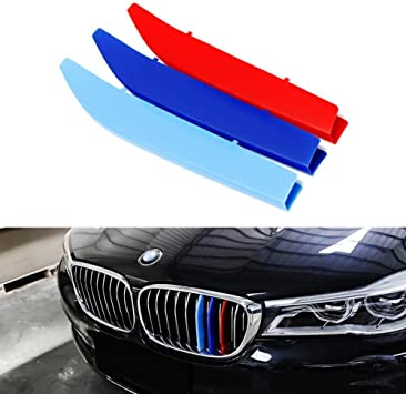 8X-SPEED for BMW 7 Series 740i 740Li 750i 760i 2014-2015 3D Car Styling M Front Grille Insert Trim Motorsport Grill Stripes Cover M Performance Sticker 3 Colors for BMW M Accessories