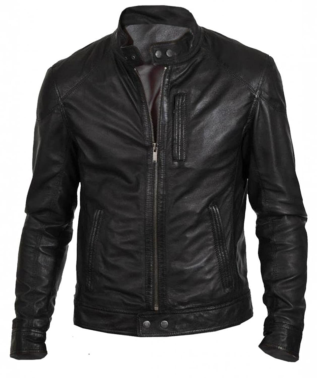 The Leather Factory Men's Black Classic Fashion Biker Jacket In ...