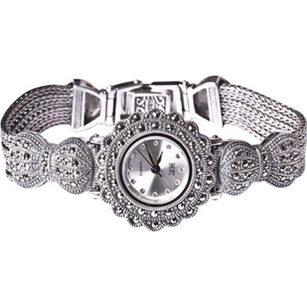 New Vintage Style Thai Sterling Silber Markasit Armband Schmuck Damen Armbanduhr