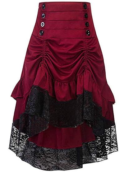 Faldas De Las Mujeres Retro Color Elegante Sólido Maxi Falda Moda ...