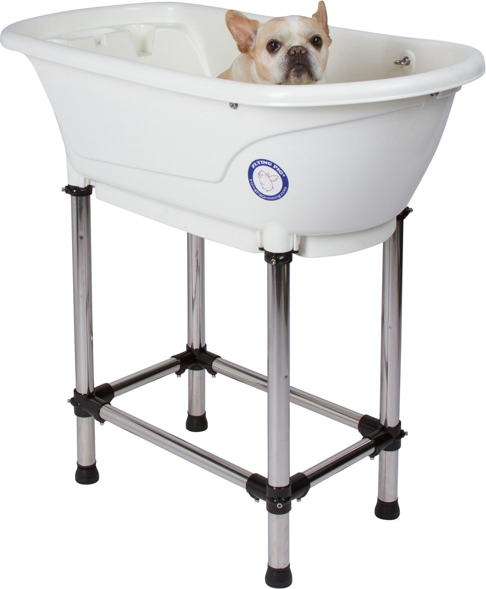 Flying Pig Pet Dog Cat Washing Shower Grooming Portable Bath Tub (White, 37.25''x19.25''x35.25'')