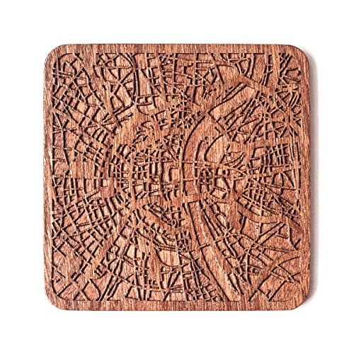 Kyoto Map Coaster by O3 Design Studio, One piece, Sapele Wooden Coaster with city map, Multiple city optional, Handmade