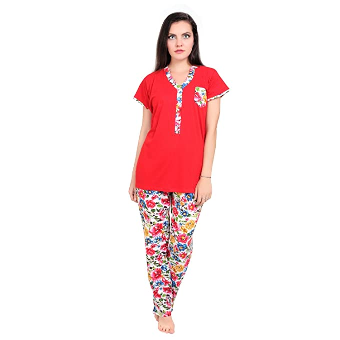 FARRY Sleepwear for Women Pajamas Set Ladies Night Suit – Comfortable  Breathable Soft Floral Printed Women 9af37efcd