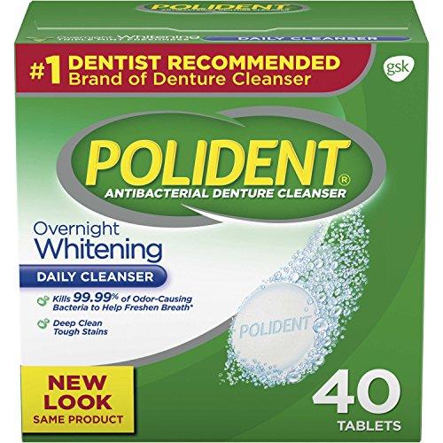Polident Overnight Whitening Antibacterial Denture Cleanser Effervescent Tablets, 40 count (Polident Denture Cleaner 40)
