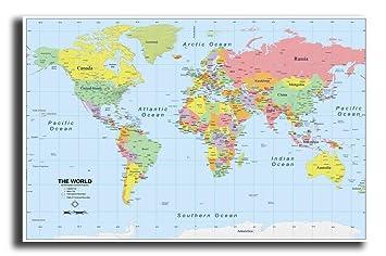 PIXELARTZ World Map HD Quality Poster (Paper, Multicolour): Amazon ...