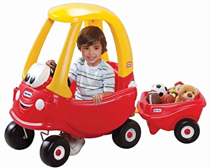 Amazon Com Little Tikes Cozy Coupe With Trailer Toys Games