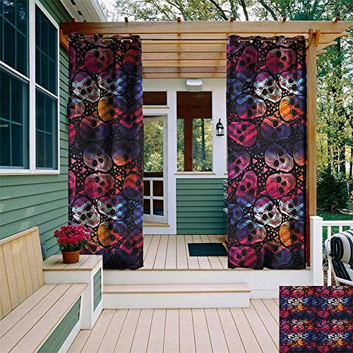 leinuoyi Halloween, Outdoor Curtain Extra Wide, Mexican Sugar Skulls Stylized Digital Polygonal Geometric All Saint Day Display, for Privacy W120 x L96 Inch -