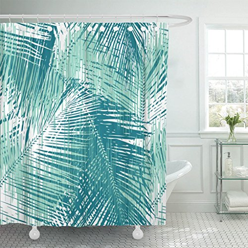 Emvency Shower Curtain 72 X78  Frond Palm Leaf Pattern All Over Accessory Bunting Graphic Interior Patterning Waterproof Polyester Fabric Adjustable Hook