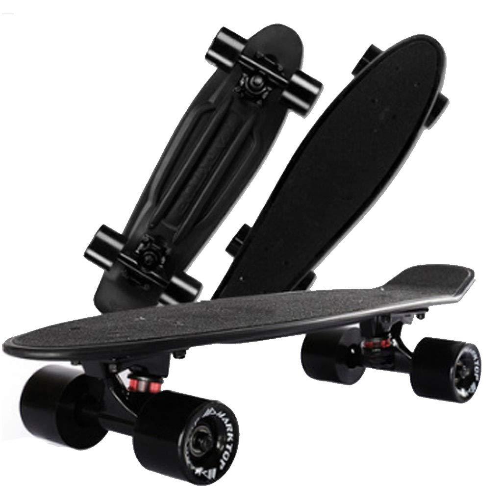 スケートボードツール スケートボード 子供大人用ベストギフト 小魚プレートバナナボード 初心者ユーススケートボード 四輪スクーター ダブルアップロードスクーター (Color : 黒, Size : 57x15cm) 黒 57x15cm