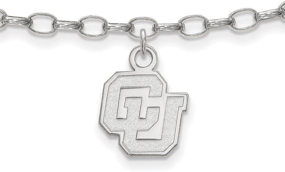 925 Sterling Silver LogoArt University of Colorado Anklet; 9 inch