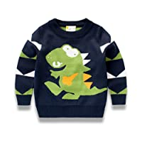 Little Hand Toddler Boys Knitted Sweater Kids Jumpers for Winter Sweatshirt Knit Pullover Long Sleeve T Shirt Cartoon Dinosaur Shirt 100% Cotton (1-7 Years)