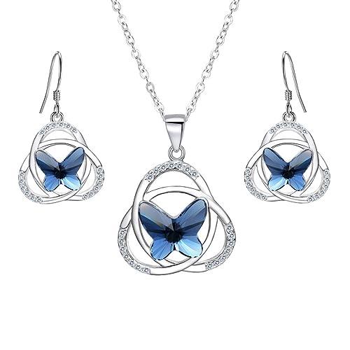 b024a7e31d71c3 EVER FAITH-Collana Orecchini Donna Parure gioielli con Argento Farfalla  nodo celtico Ciondolo Collana Orecchini Set Blu Navy decorazione con  Cristalli da ...