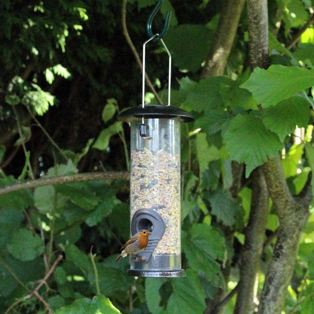 Courti Mangiatoia per Uccelli Sospesa con Coperchio in Ferro E Anello di Sospensione Mangiatoia Uccellini da Giardino Finestra Nero 23cm