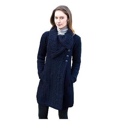 100% Merino Wool Aran Crafts Ladies 3 Button Long Cardigan Navy at Amazon Women's Clothing store