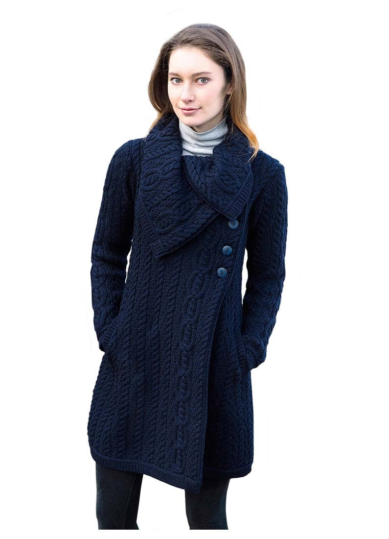 100% Merino Wool Aran Crafts Ladies 3 Button Long Cardigan Navy