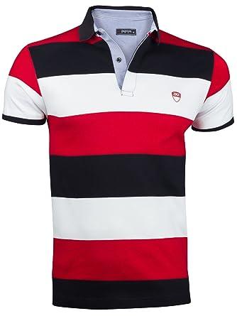 9a622b61d248 Herren Sommer Polo Hemd T-Shirt Poloshirt GESTREIFT Kurzarm 100% Baumwolle,  Größe XXL, Farbe Rot  Amazon.de  Bekleidung